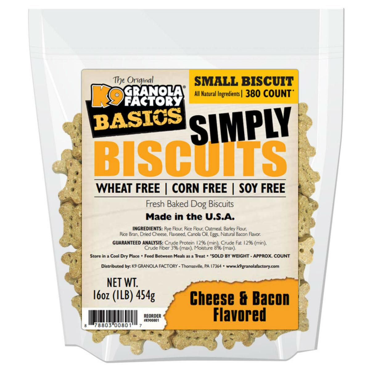 K9 Granola Factory Simply Biscuits Dog Treats - Cheese & Bacon