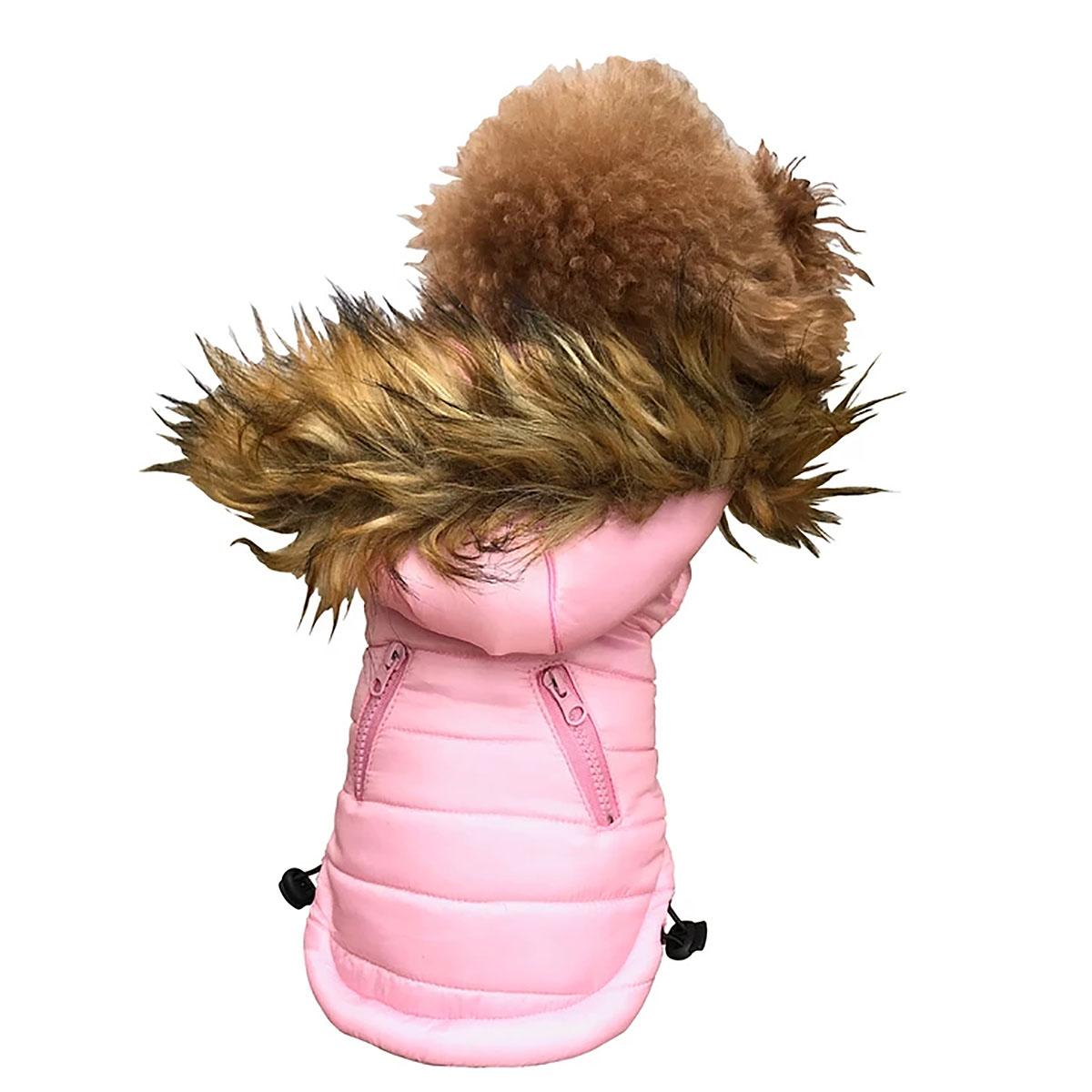 Ski Bunny Puffer Dog Coat with Detachable Hood - Pretty Pink