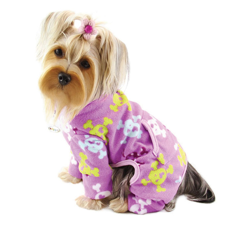 Skulls and Crossbones Fleece Dog Pajamas by Klippo - Purple