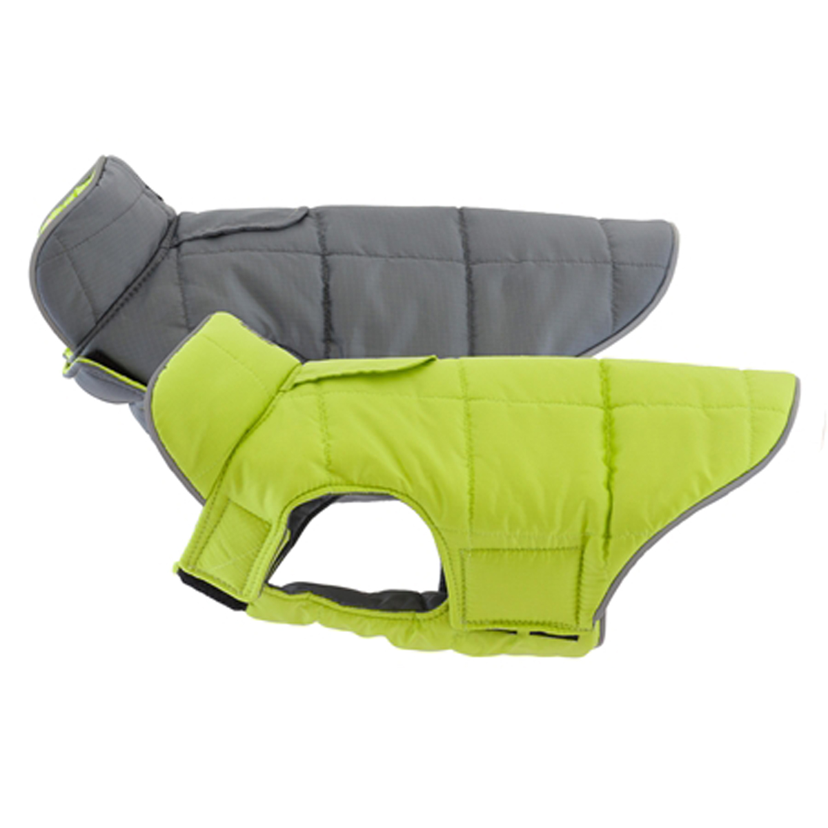 Skyline Puffy Reversible Dog Vest  - Lime/Charcoal