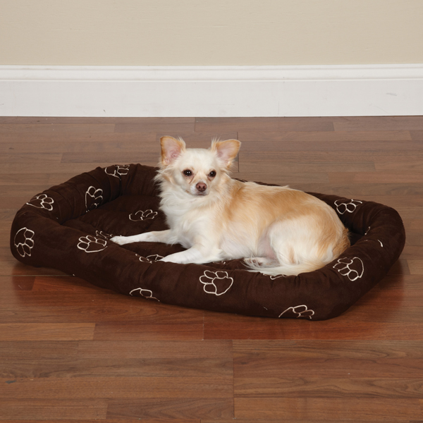 Slumber Pet Embroidered Paw Print Crate Dog Bed - Chocolate