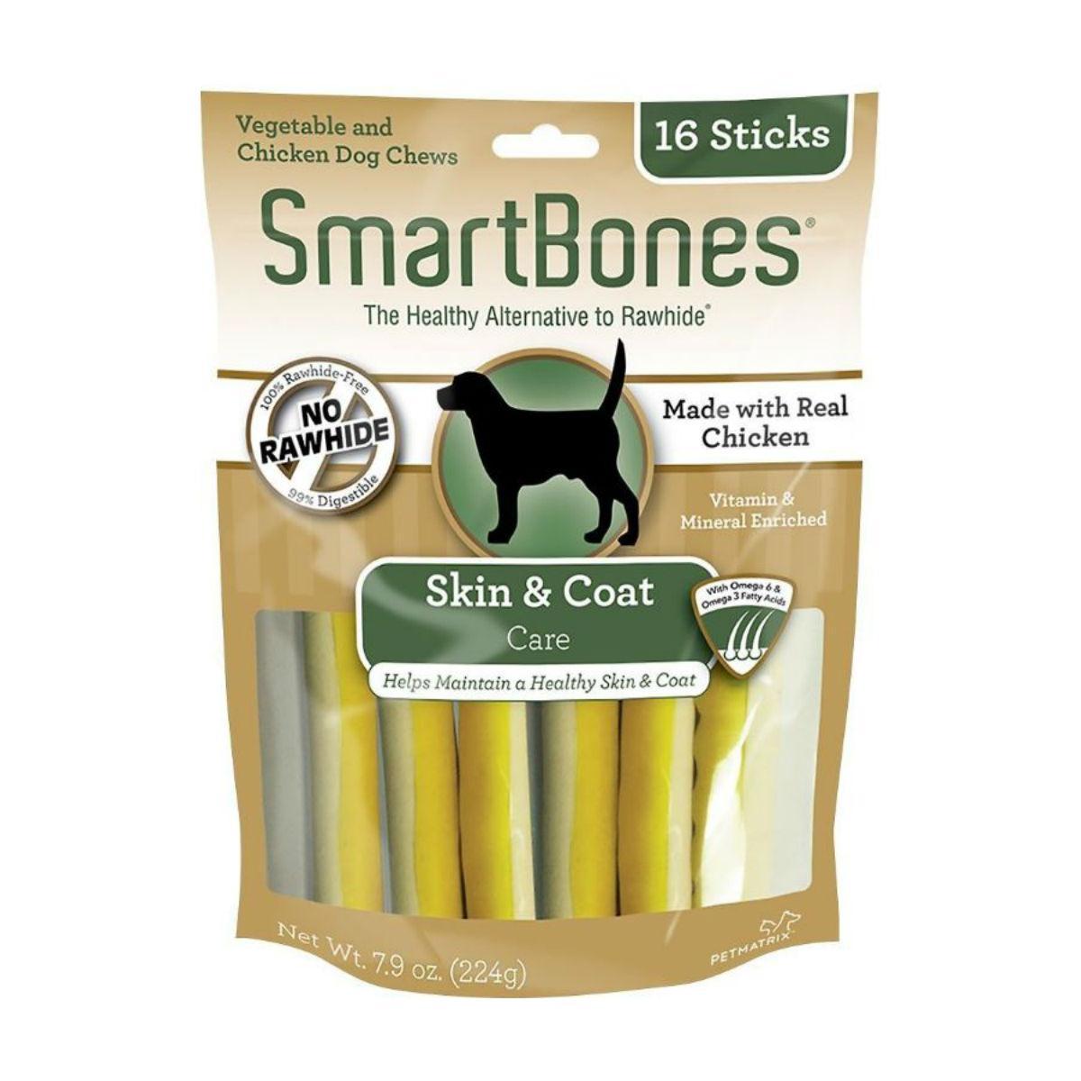 SmartBones Functional Sticks Dog Treat - Skin & Coat