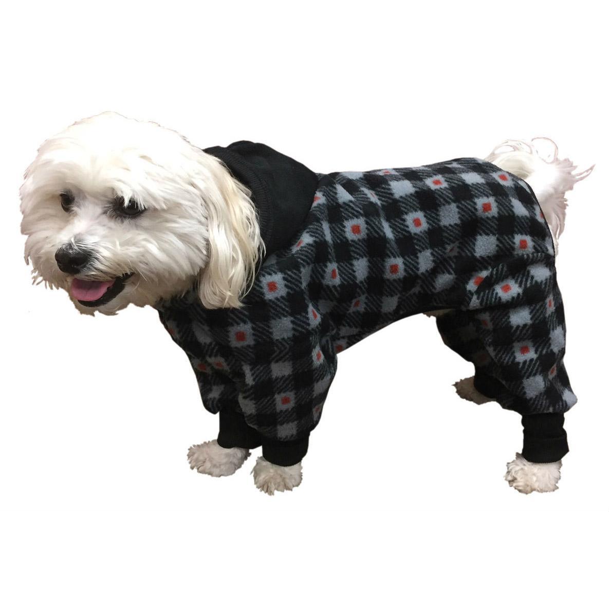 SnoJam Dog Fleece Bodysuit by Ultra Paws - Buffalo Dog, Grey/Red