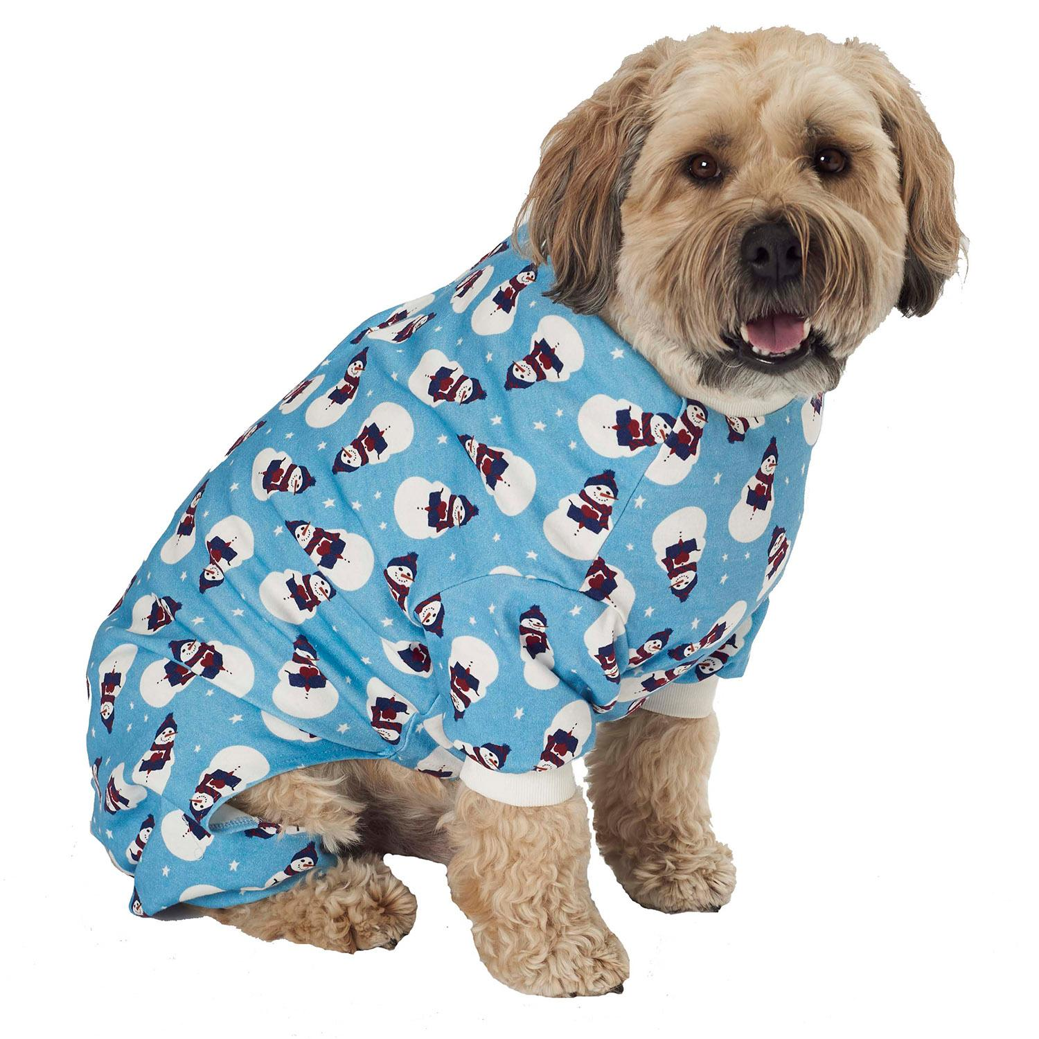 Snowman Dog Pajamas - Antique Blue