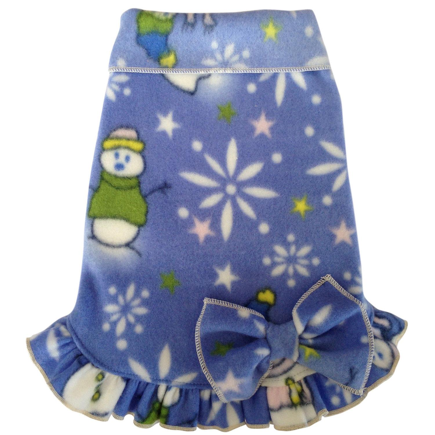 Snowman Snowflake Pullover Dog Dress With Bow - Light Blue