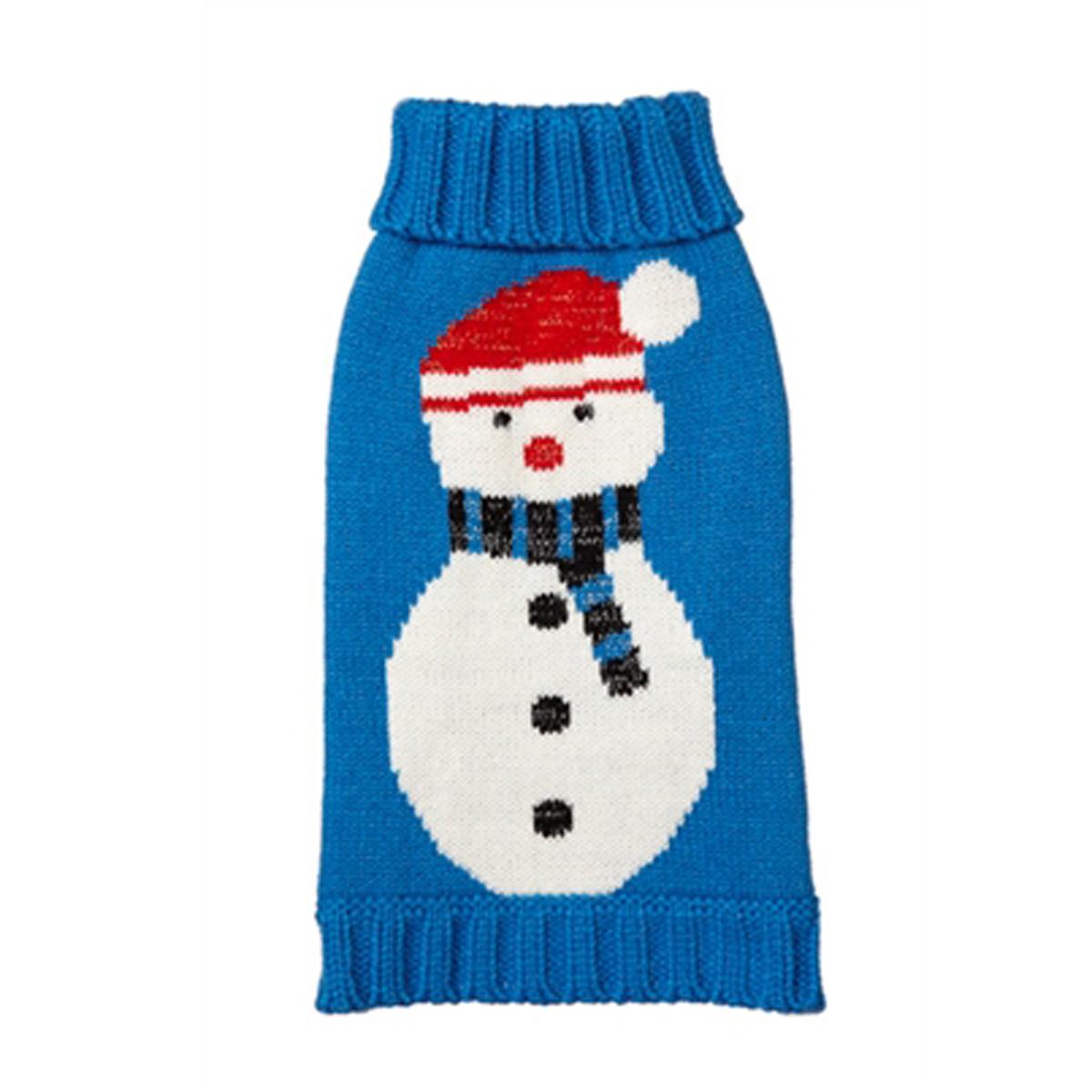 Snowman Turtleneck Dog Sweater - Blue