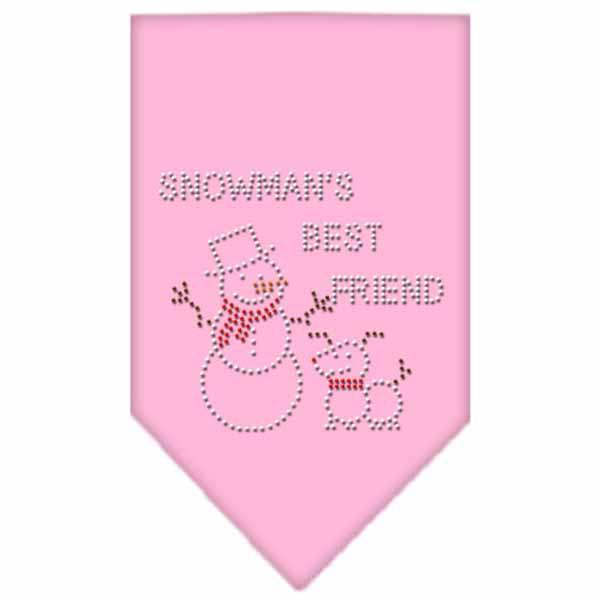 Snowman's Best Friend Rhinestone Dog Bandana - Light Pink