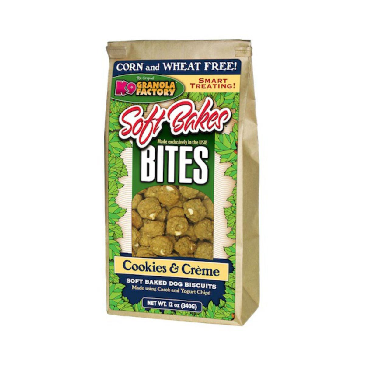 K9 Granola Factory Soft Bakes Bites Dog Treat - Cookies & Creme  w/Carob and Yogurt Chips