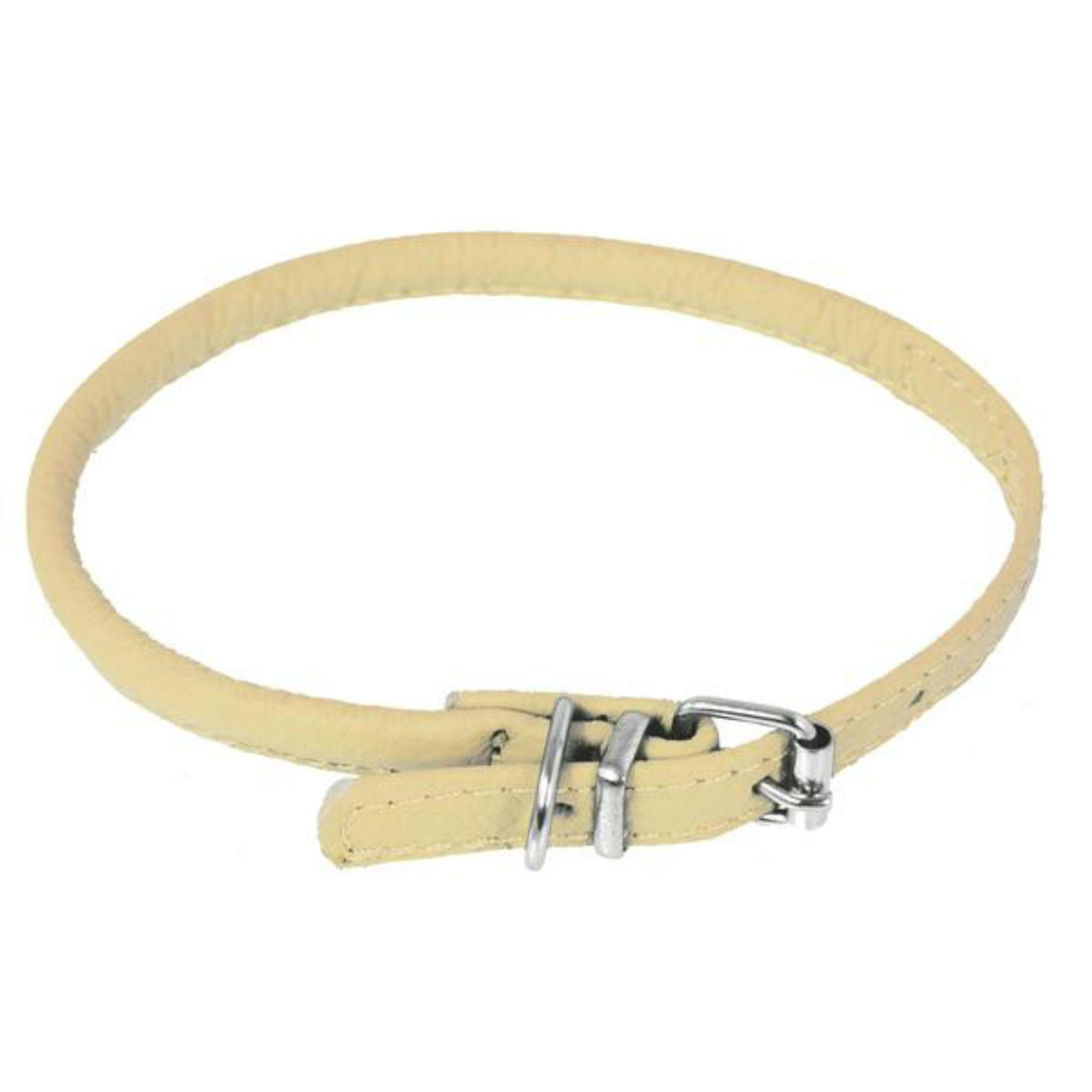 Soft Leather Round Dog Collar - Beige