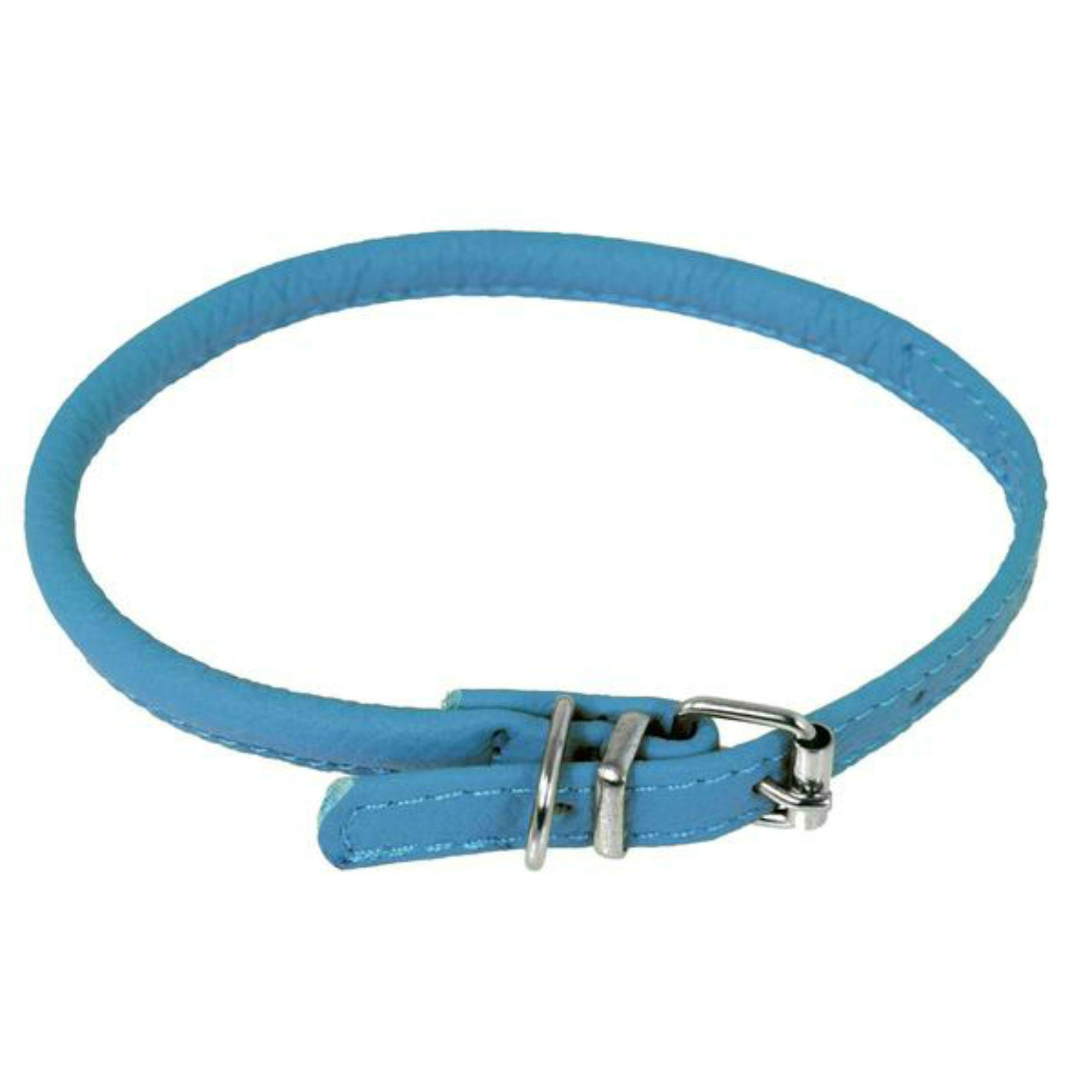 Soft Leather Round Dog Collar - Cyan Blue
