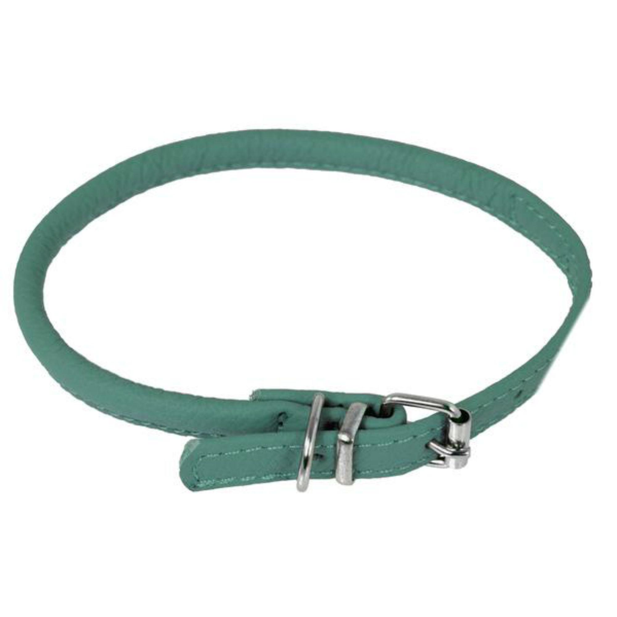 Soft Leather Round Dog Collar - Teal