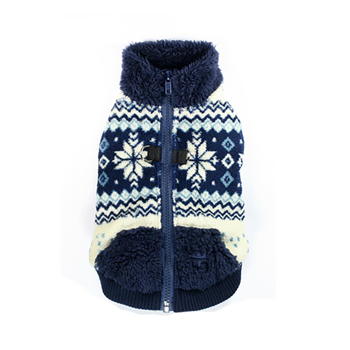 Snowflake Fleece Dog Vest by Hip Doggie - Blue
