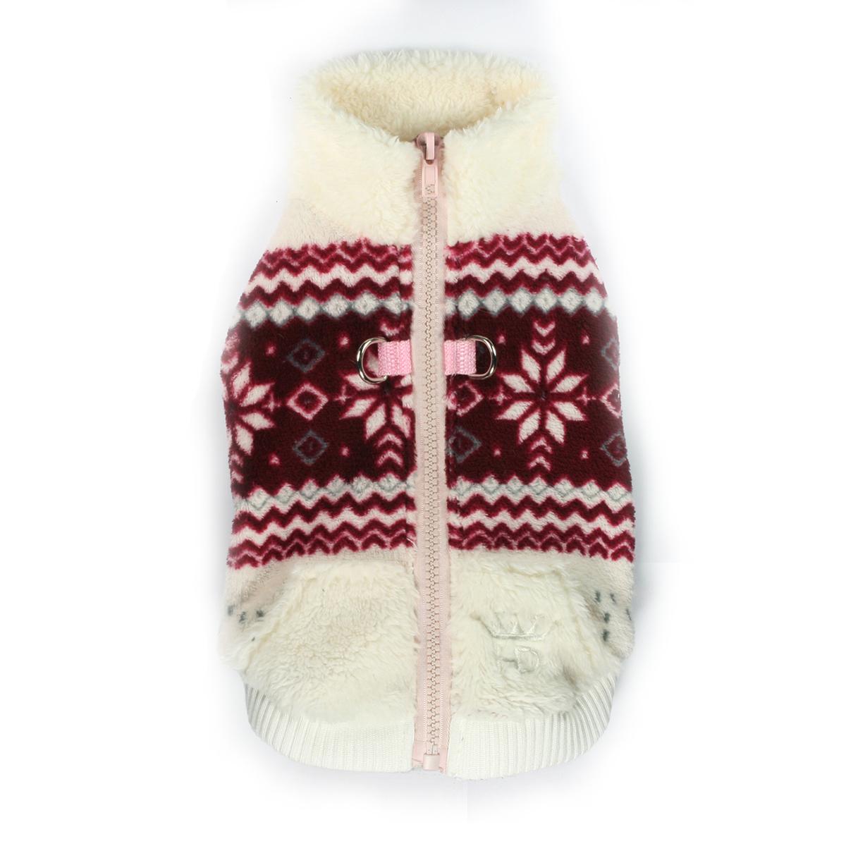 Snowflake Fleece Dog Vest by Hip Doggie - White