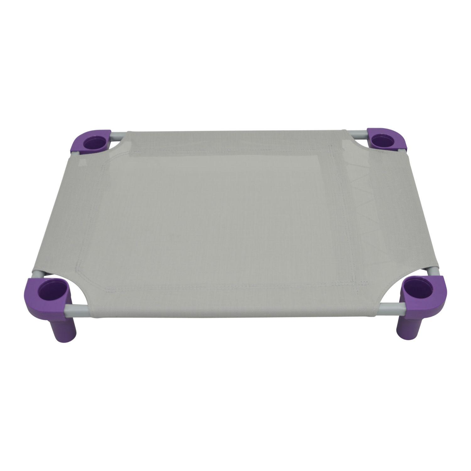 Solid Color Premium Weave Dog Cot - Gray with Purple Legs