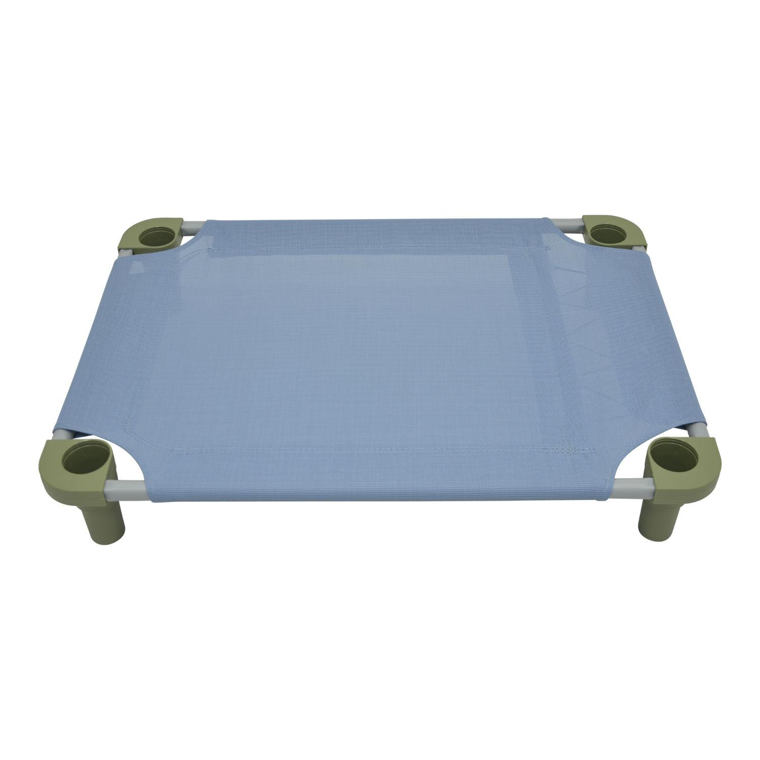 Solid Color Premium Weave Dog Cot - Sistine Blue with Sage Legs
