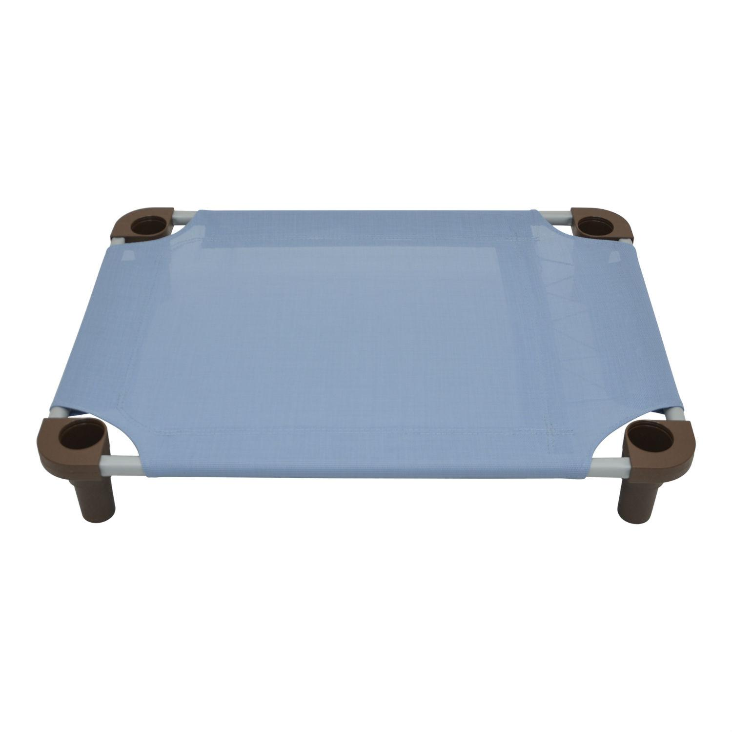 Solid Color Premium Weave Dog Cot - Sistine Blue with Brown Legs