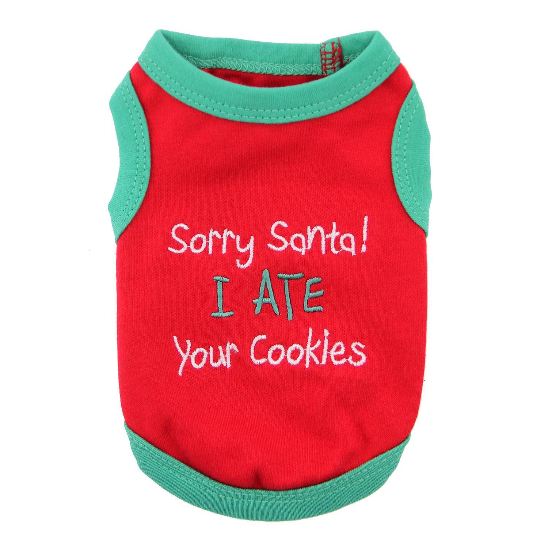 Sorry Santa Holiday Dog Tank by Parisian Pet - Red