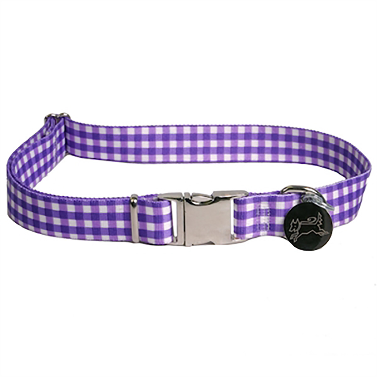 Southern Dawg Gingham Dog Collar by Yellow Dog - Purple