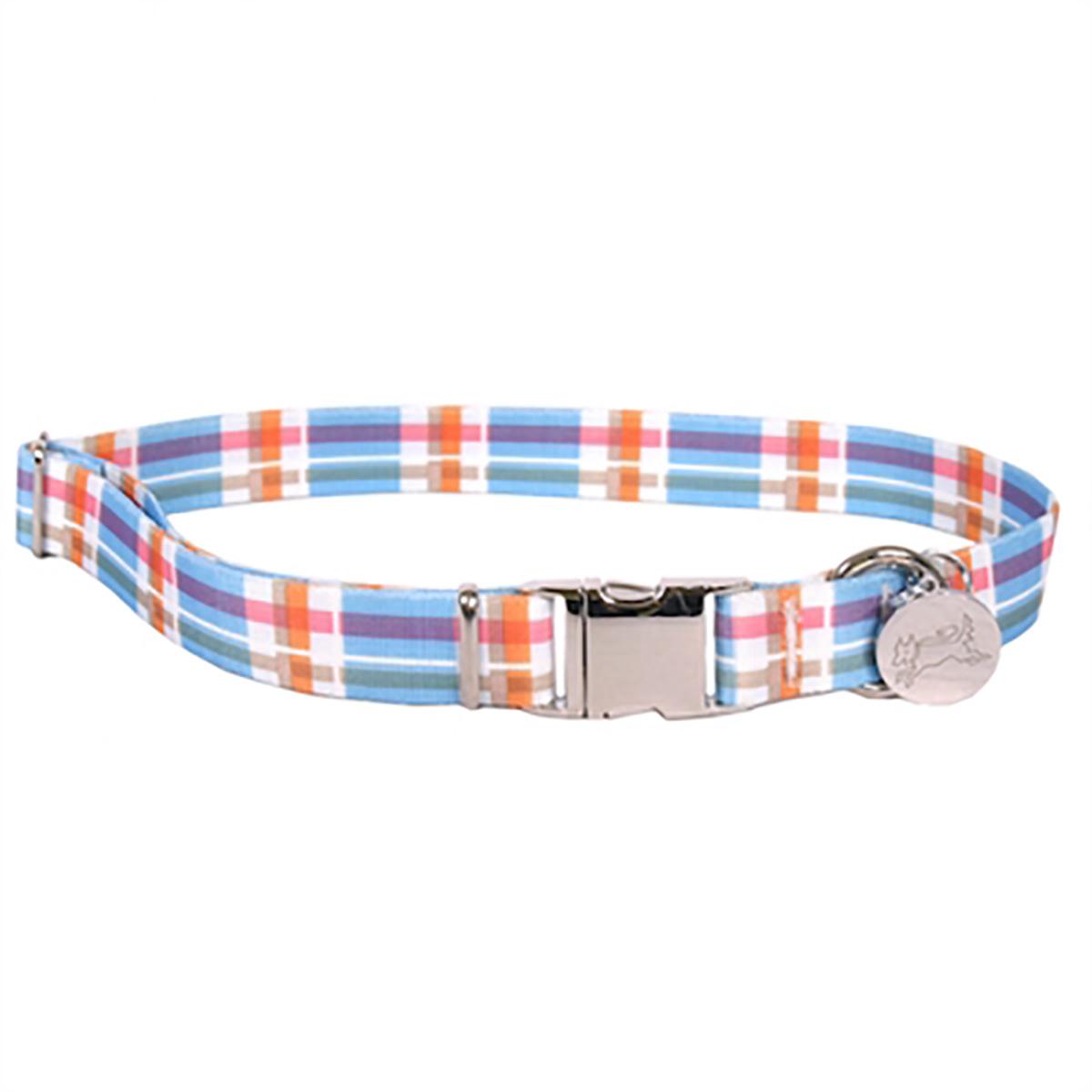 Southern Dawg Madras Dog Collar by Yellow Dog - Blue