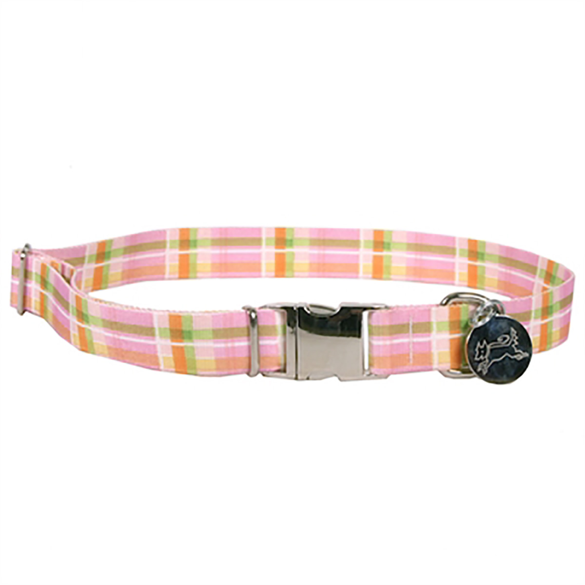 Southern Dawg Madras Dog Collar by Yellow Dog - Pink