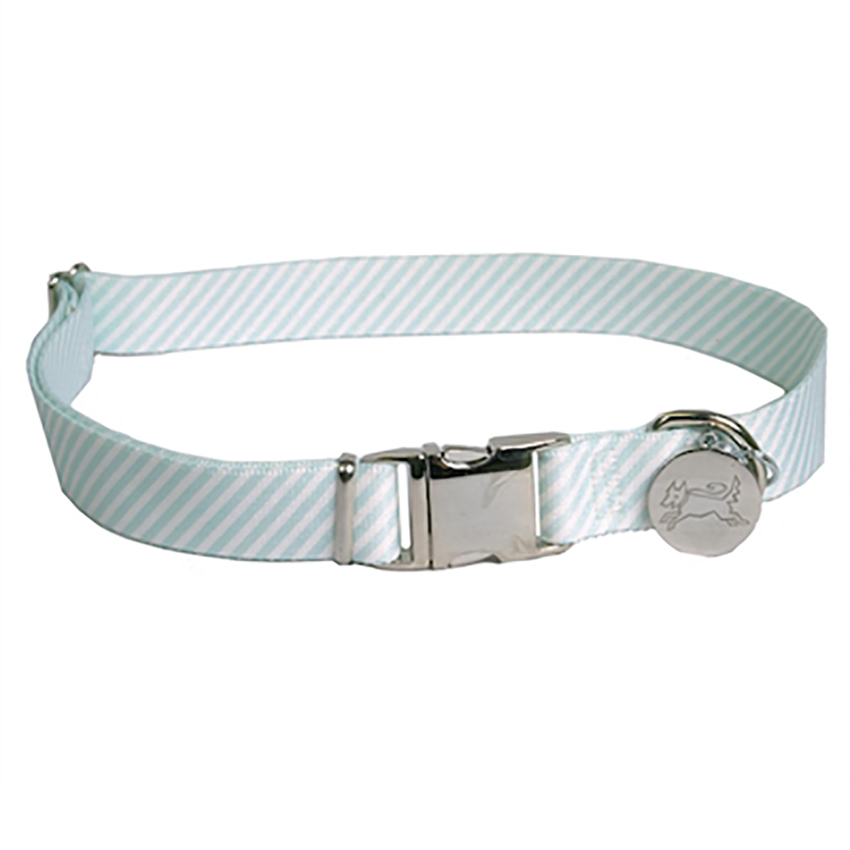 Southern Dawg Seersucker Dog Collar by Yellow Dog - Mint