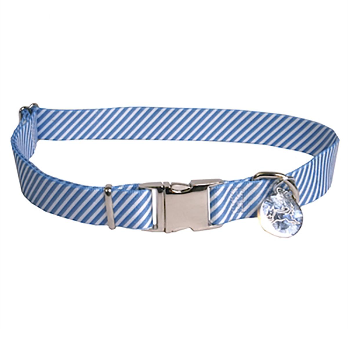 Southern Dawg Seersucker Dog Collar by Yellow Dog - Navy Blue