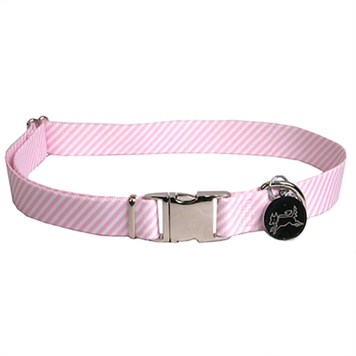 Southern Dawg Seersucker Dog Collar by Yellow Dog - Pink