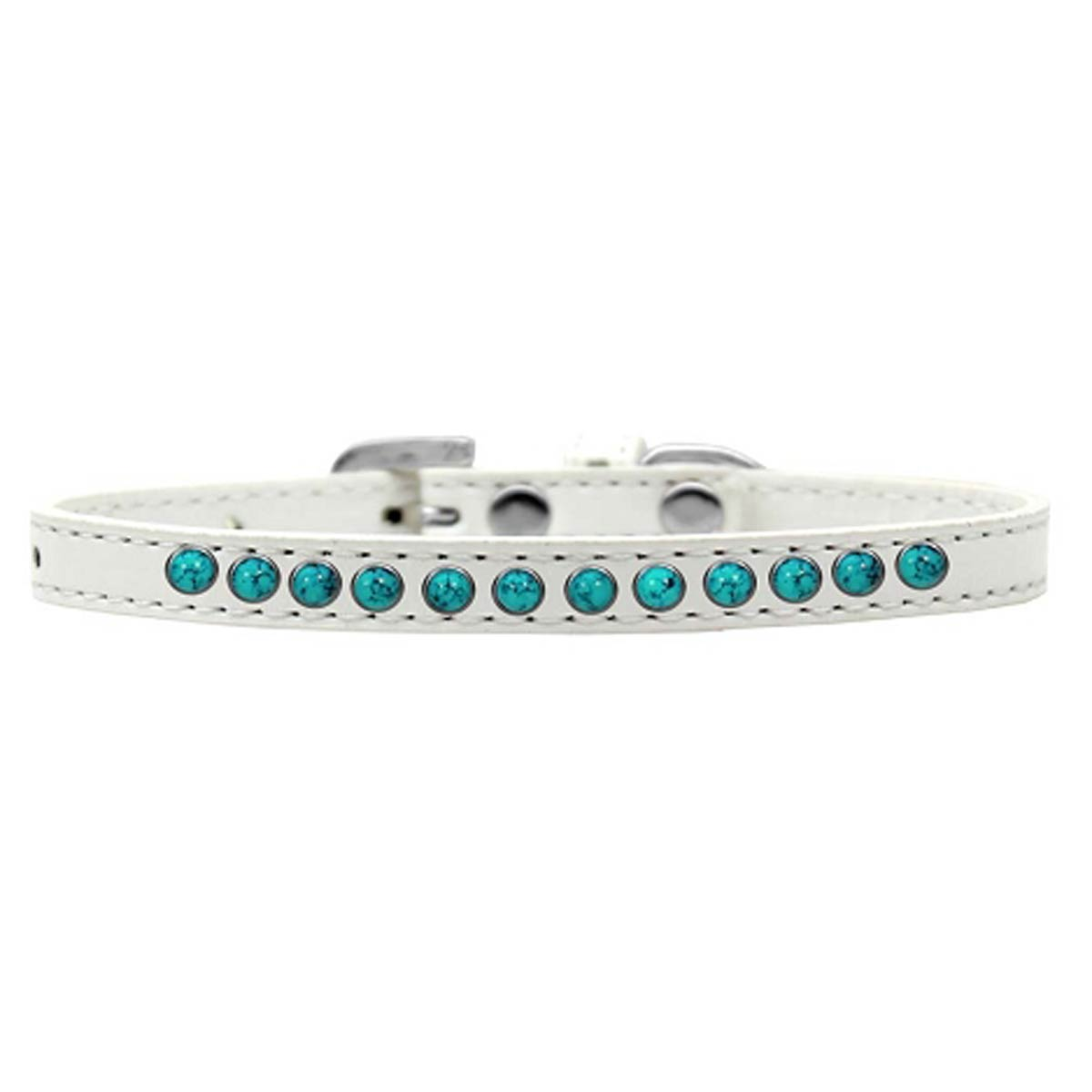 Southwest Turquoise Pearl White Dog Collar