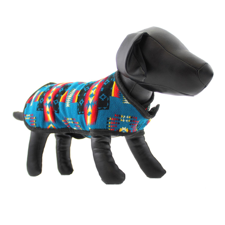 Southwestern Blanket Dog Coat - Turquoise