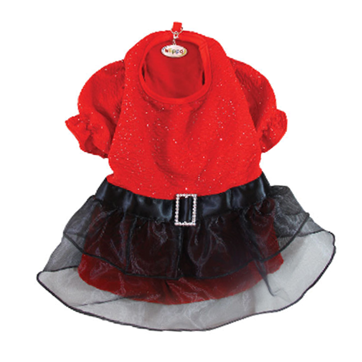 Sparkling Red Dog Dress with Puffy Sleeves by Klippo