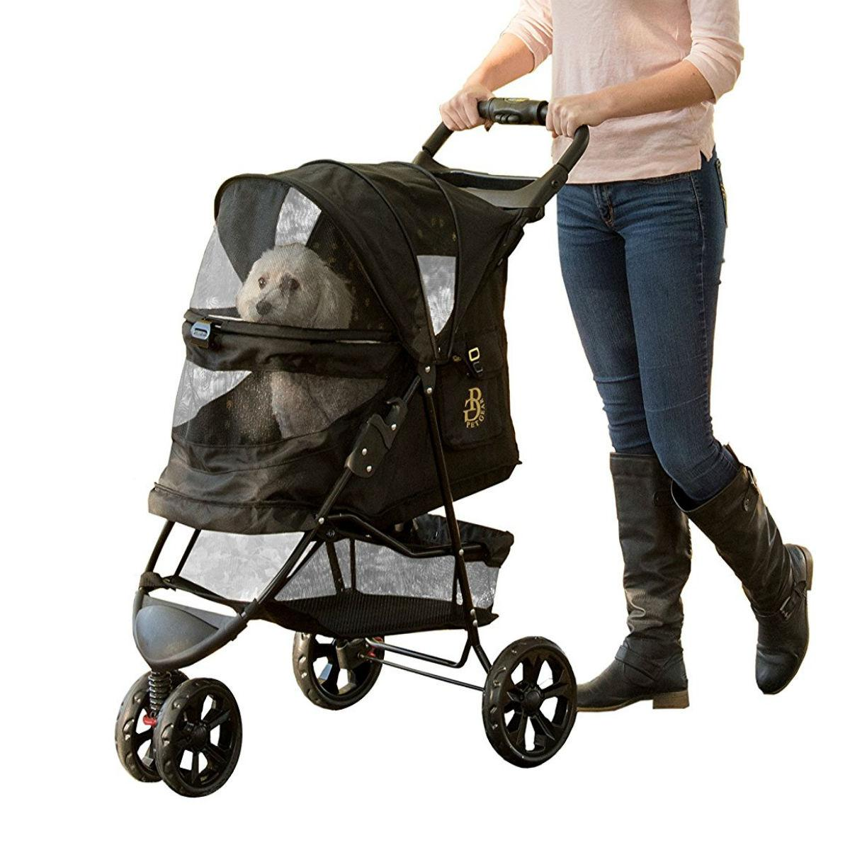 Special Edition No-Zip Pet Stroller - Gold Mo...