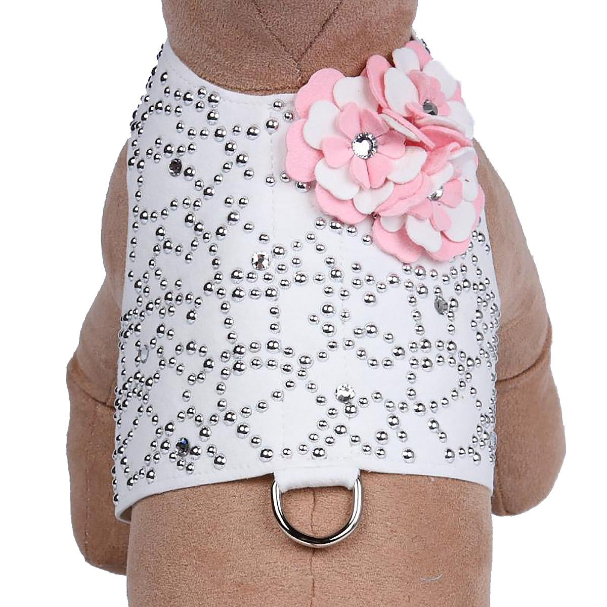 Special Occasion Bailey Dog Harness by Susan Lanci - White Charlotte's Web with Puppy Pink Flowers