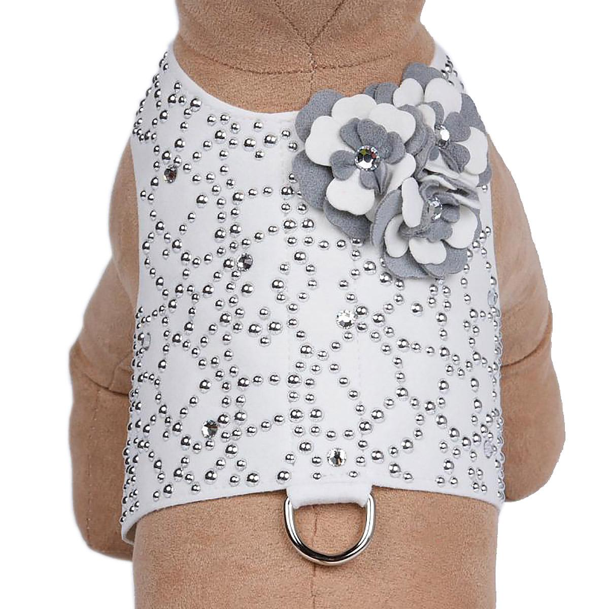 Special Occasion Bailey Dog Harness by Susan Lanci - White Charlotte's Web with Platinum Flowers
