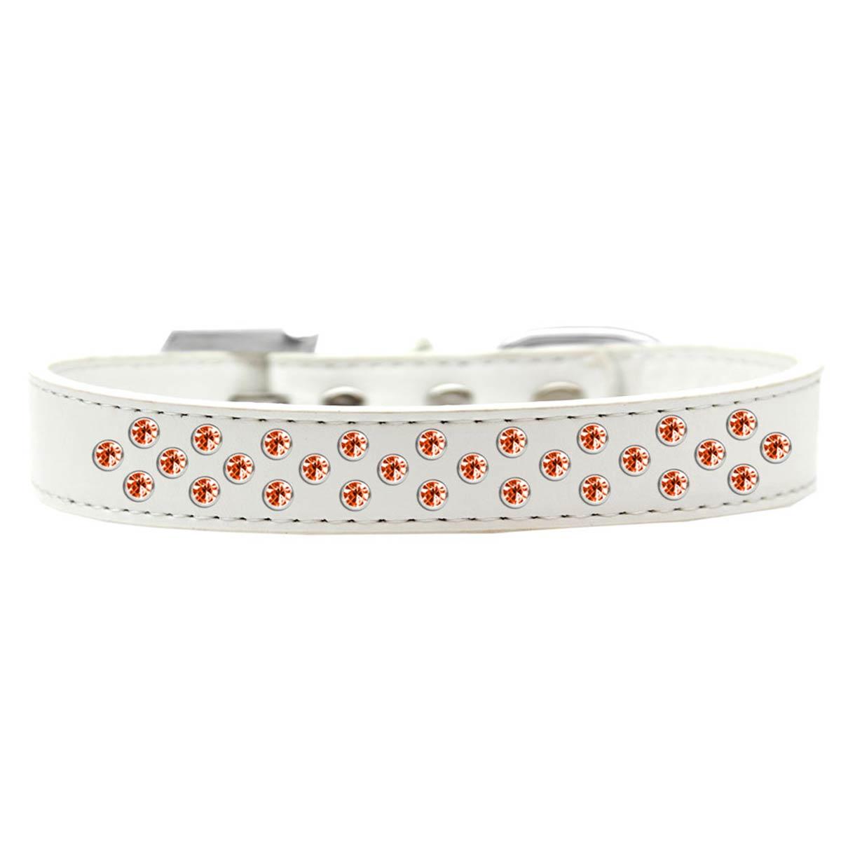 Sprinkles Orange Crystals Dog Collar - White