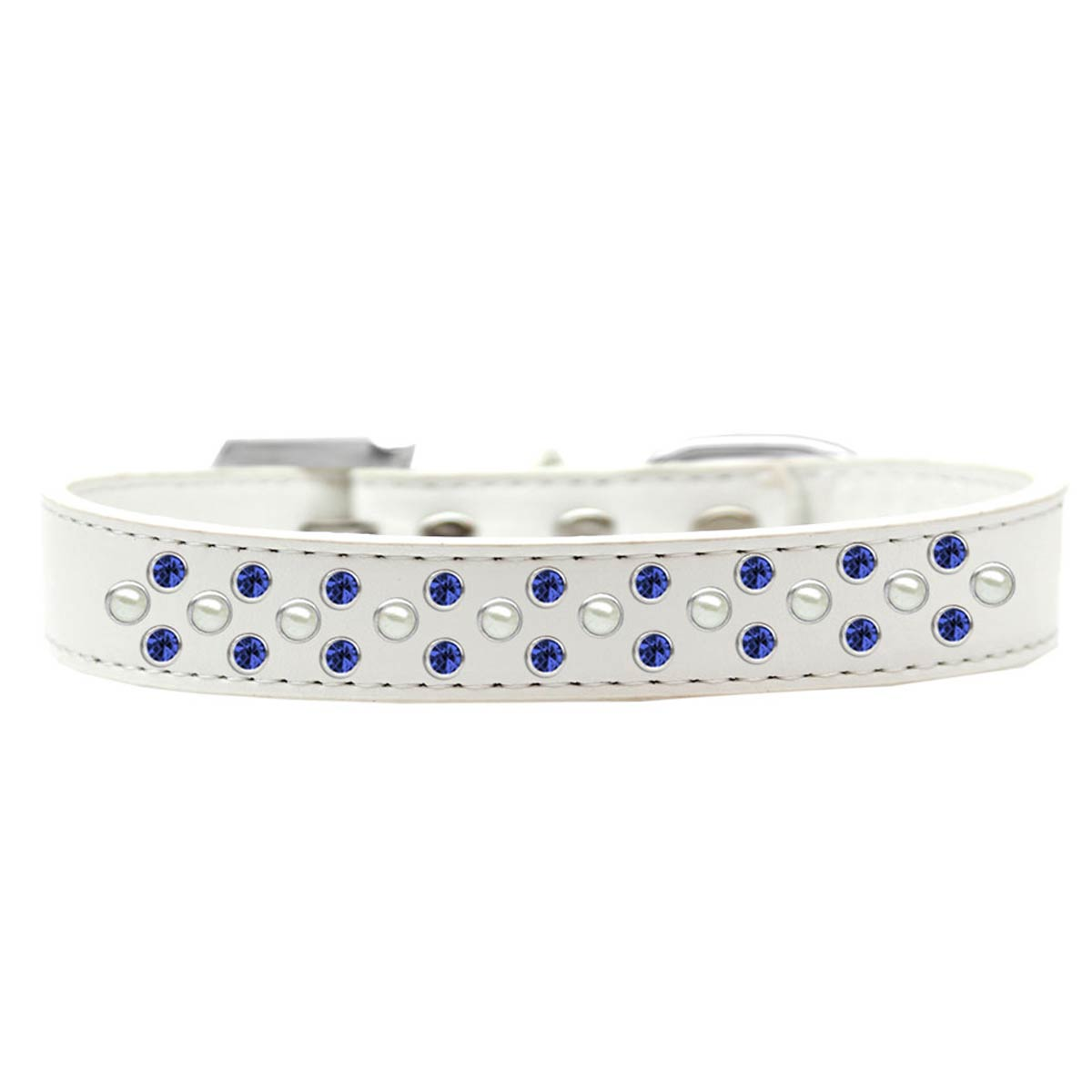 Sprinkles Pearl and Blue Crystals Dog Collar - White