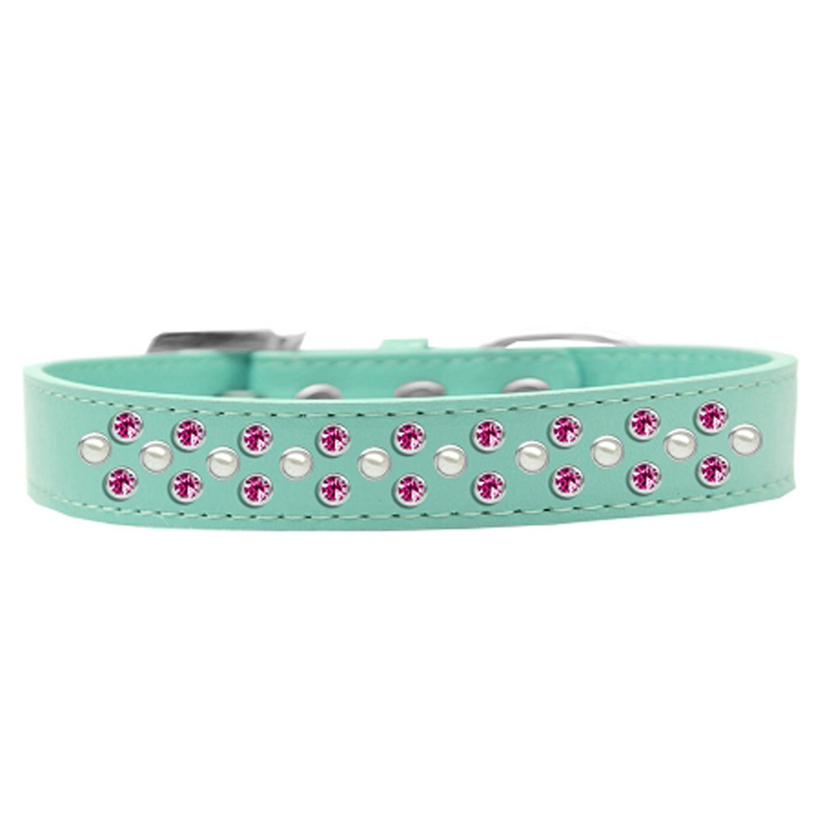 Sprinkles Pearl and Bright Pink Crystals Dog Collar - Aqua