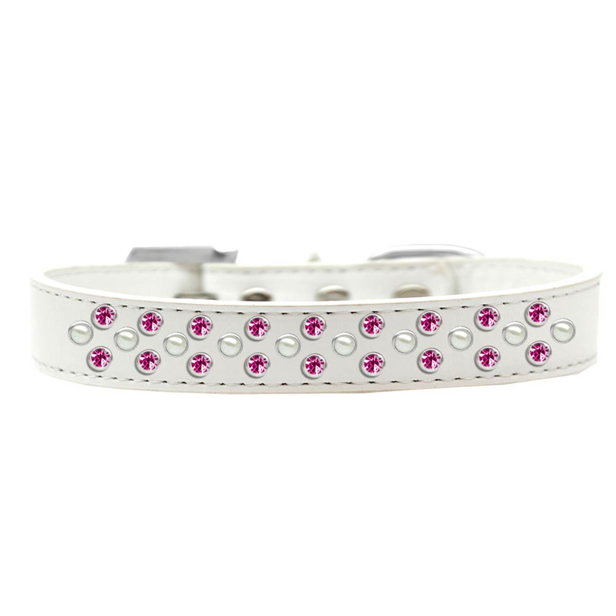 Sprinkles Pearl and Bright Pink Crystals Dog Collar - White