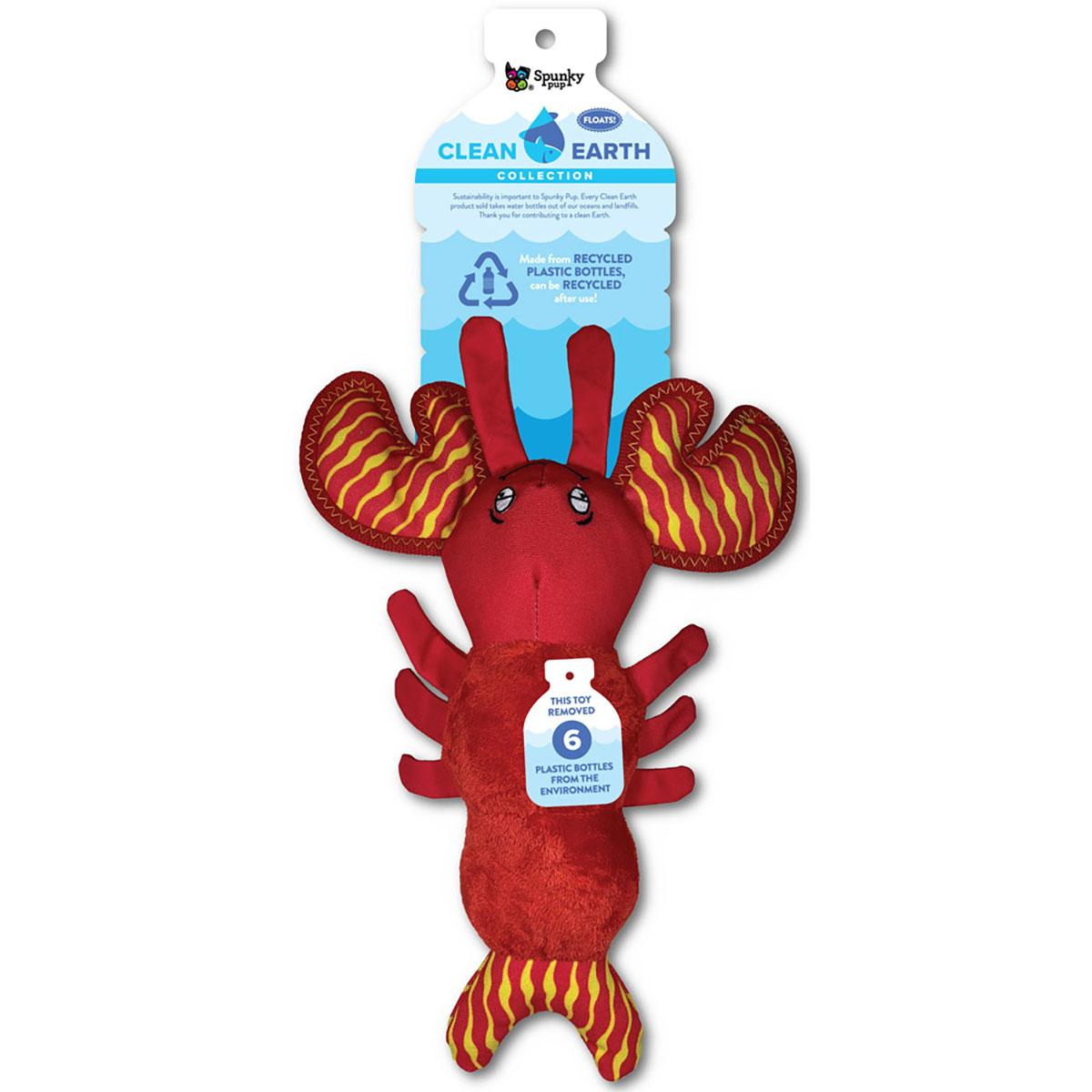 Spunky Pup Clean Earth Plush Dog Toy - Lobster