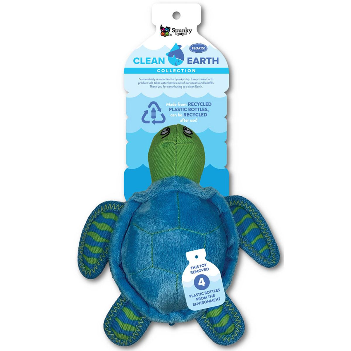 Spunky Pup Clean Earth Plush Dog Toy - Turtle