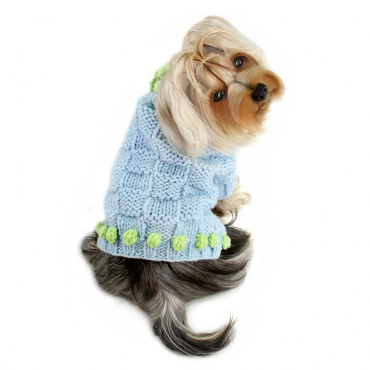 Square Knit Turtleneck Dog Sweater with Pompom Trims - Blue