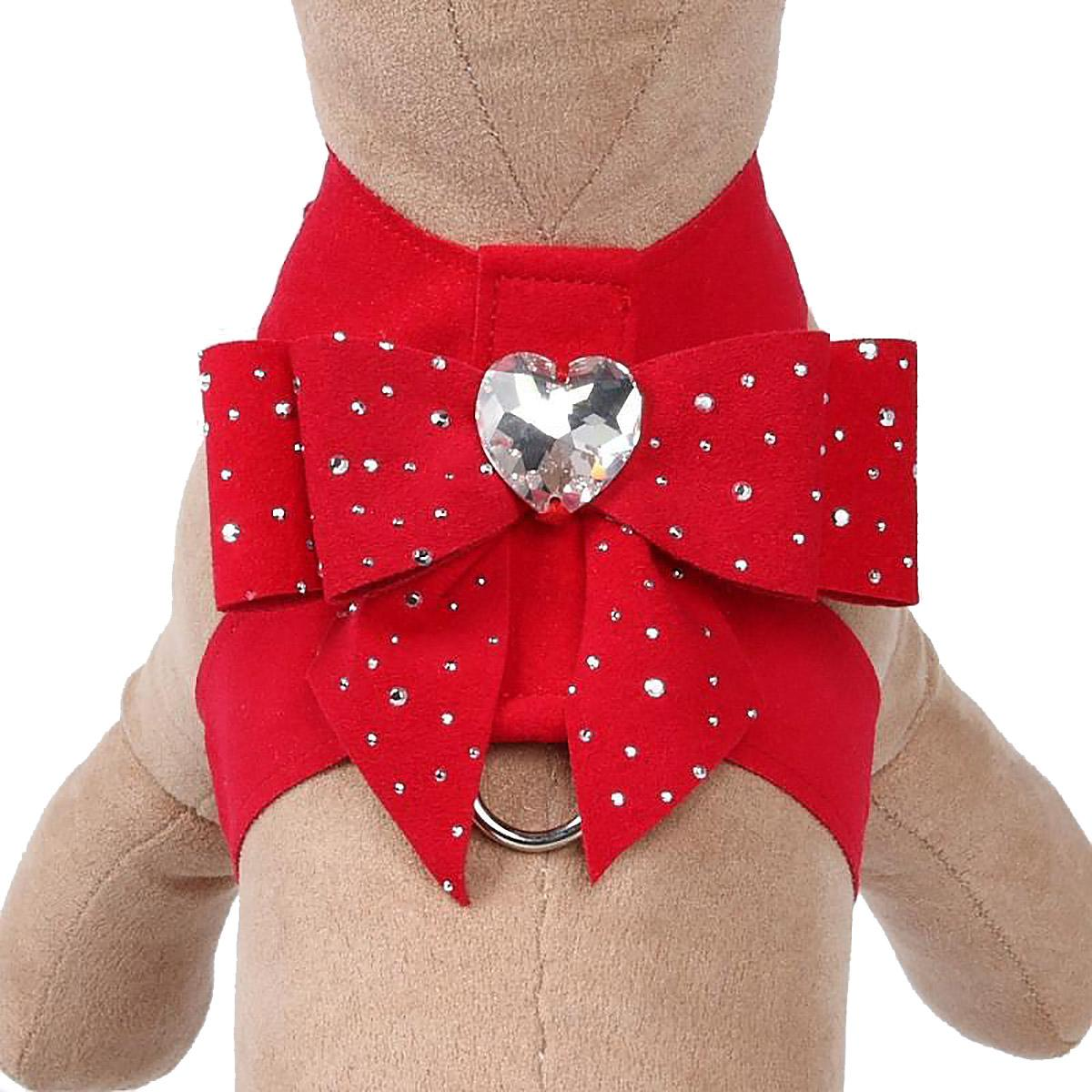 Stardust Tail Bow Heart Tinkie Dog Harness by Susan Lanci - Red