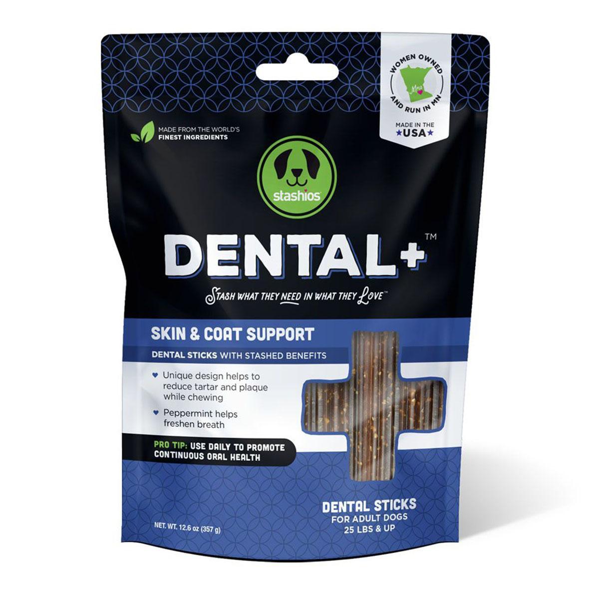 Stashios Dental+ Sticks with Skin & Coat Support Dog Treats