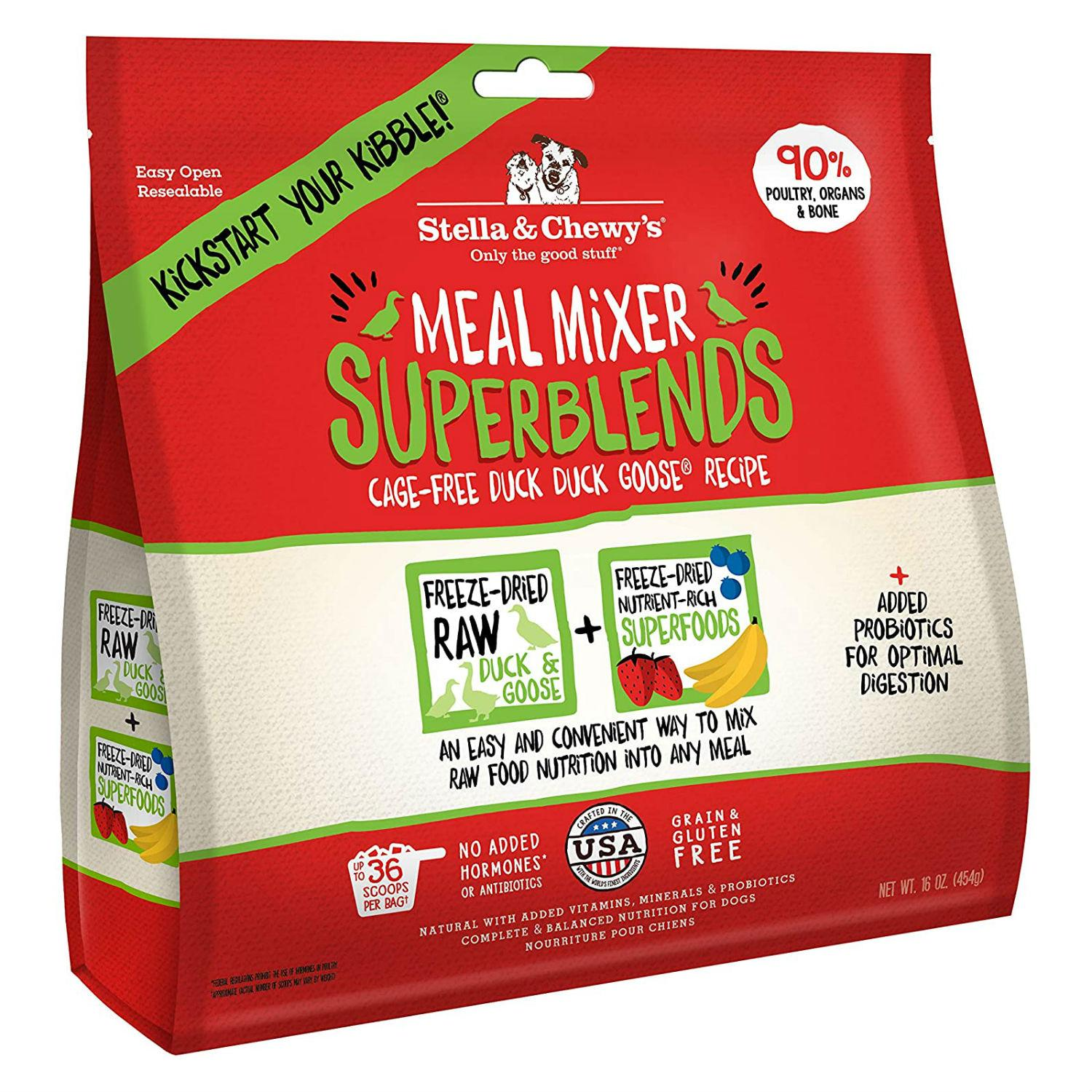 Stella & Chewy's Superblends Freeze Dried Meal Mixer Dog Food Topper - Duck