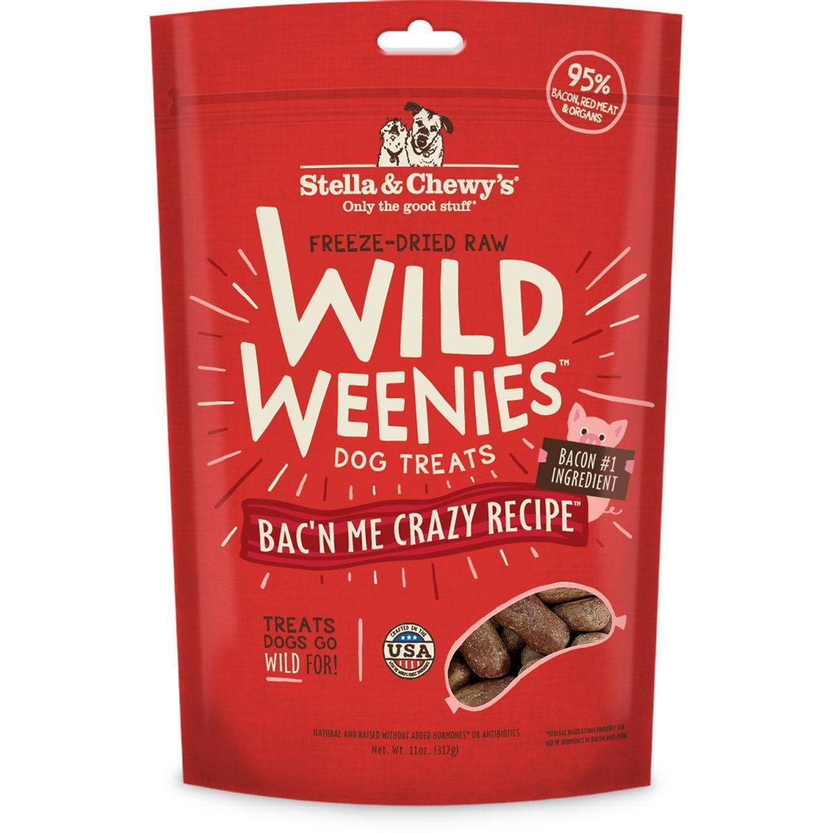 Stella & Chewy's Wild Weenies Freeze-Dried Raw Dog Treats - Bac'N Me Crazy Recipe