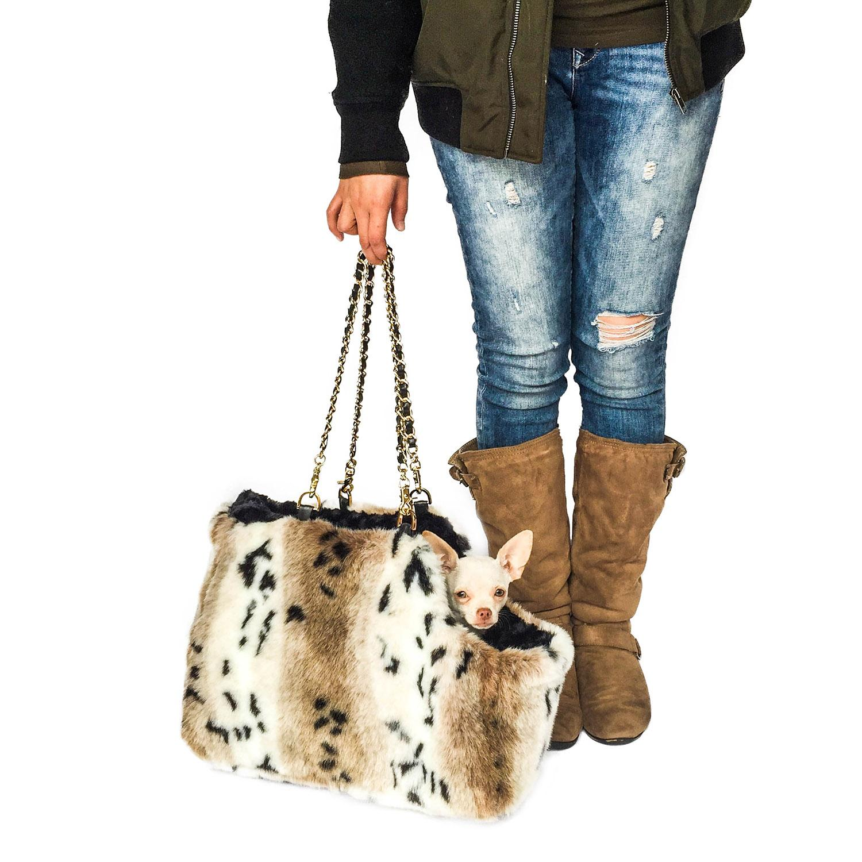 Stella Luxury Fur Dog Carrier - Snow Lynx