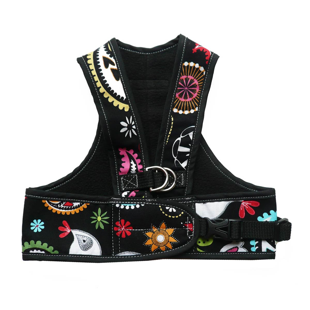 Step Easy Adjustable Dog Harness - Paisley and Black