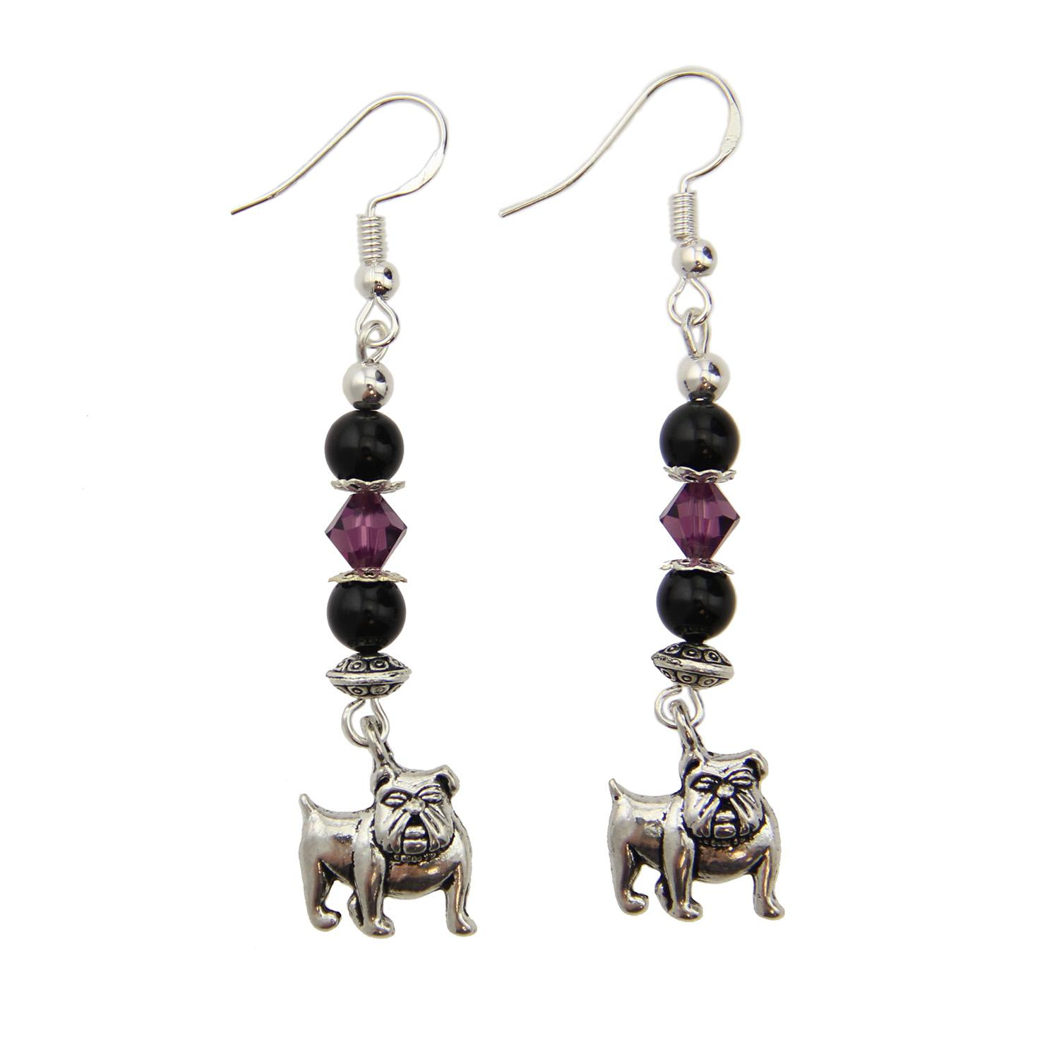 Sterling Bulldog Earrings Black And Purple Swarovski Crystals
