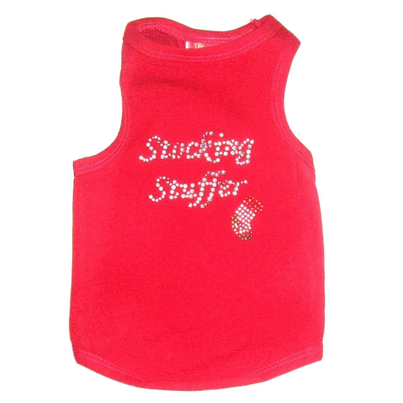 Stocking Stuffer Rhinestone Christmas Dog Tank - Red