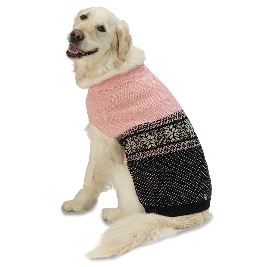 Stormy's Snowflake Fair Isle Dog Sweater - Pink and Black