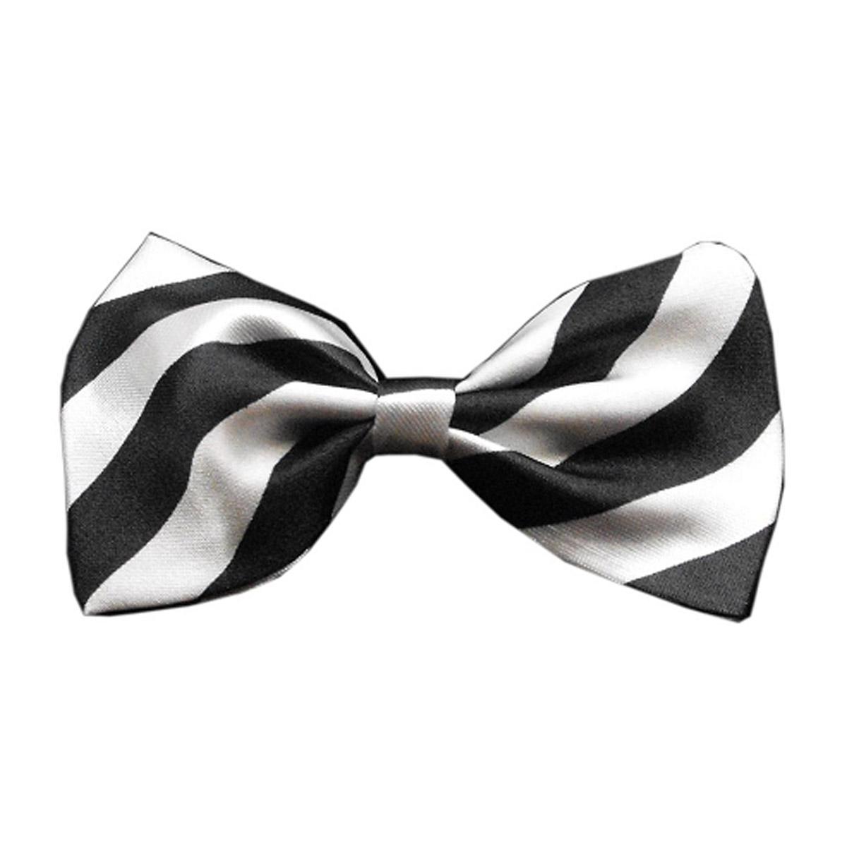 Striped Dog Bow Tie - White